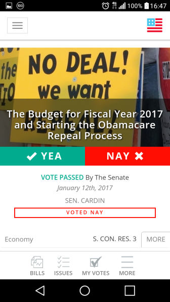 It lets you see which way your congressman voted on an issue.