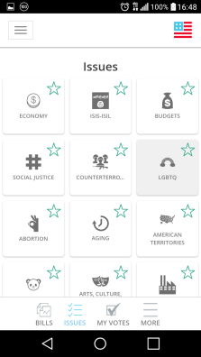 The app connects you to the issues you are concerned about