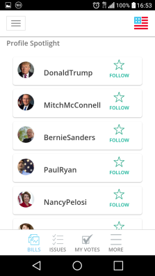 The app lets you follow key political figures