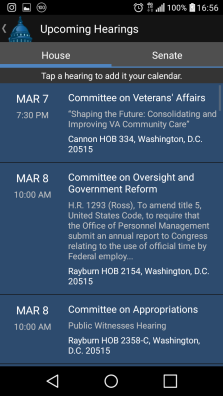 Schedule of Committee Hearings