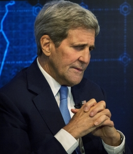 U.S. Secretary of State John Kerry pauses during a Reuters Newsmaker event on the nuclear agreement with Iran, in New York